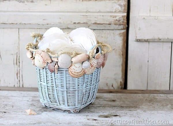 Coastal Basket Planter with Seashells and Rope