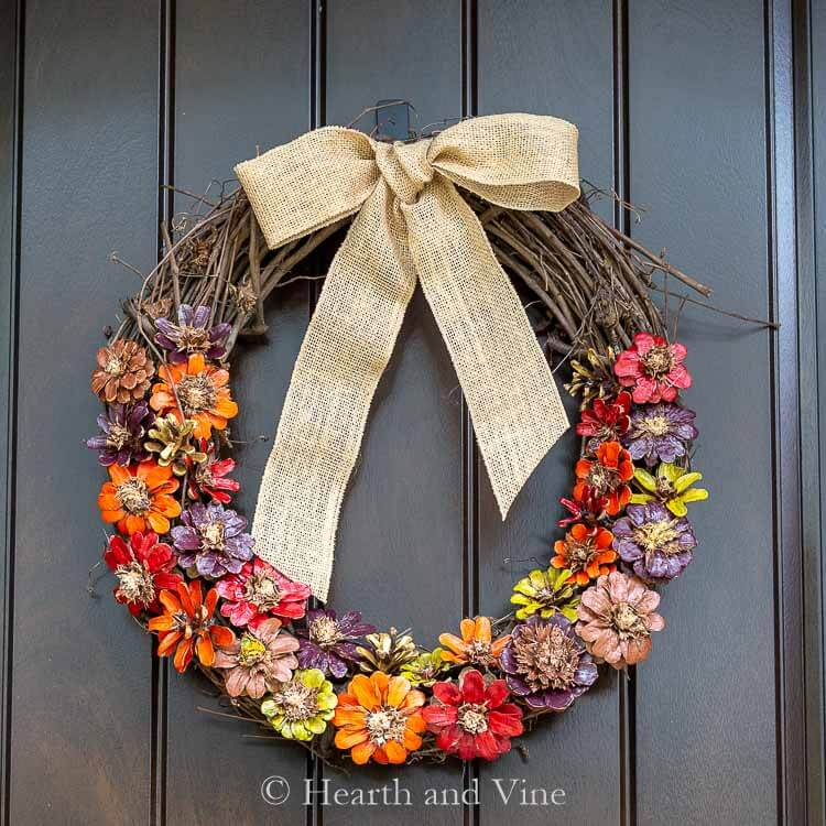 Wreath with Hand-Painted Pinecone Flowers