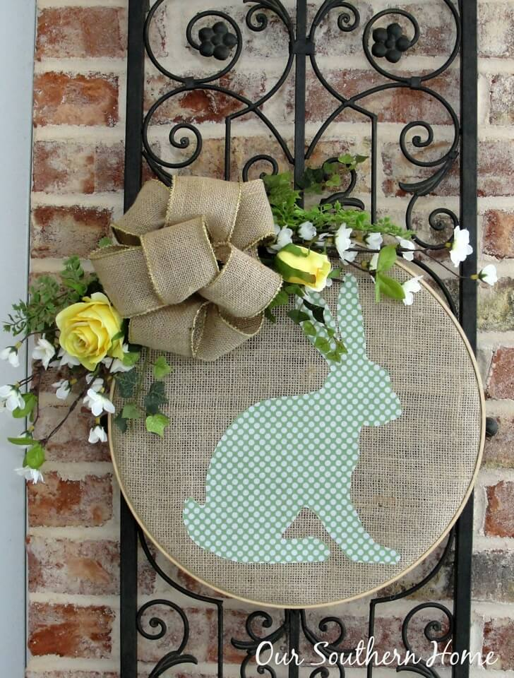 Burlap Bunny Applique with Spring Time Bow on a Circle Frame