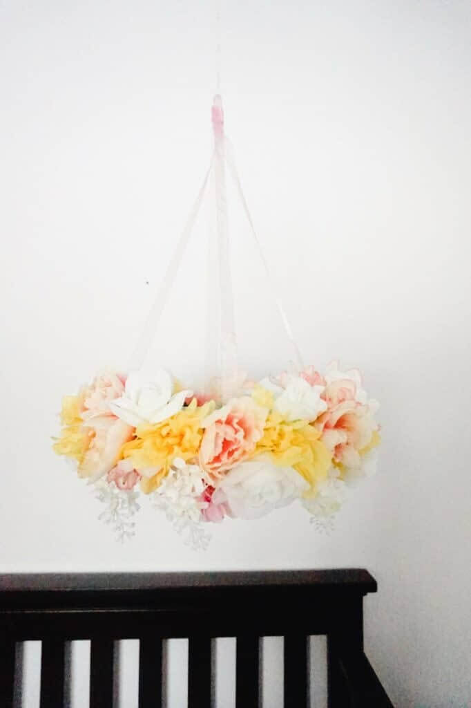 Mobile with Silk Flowers for Baby's Nursery