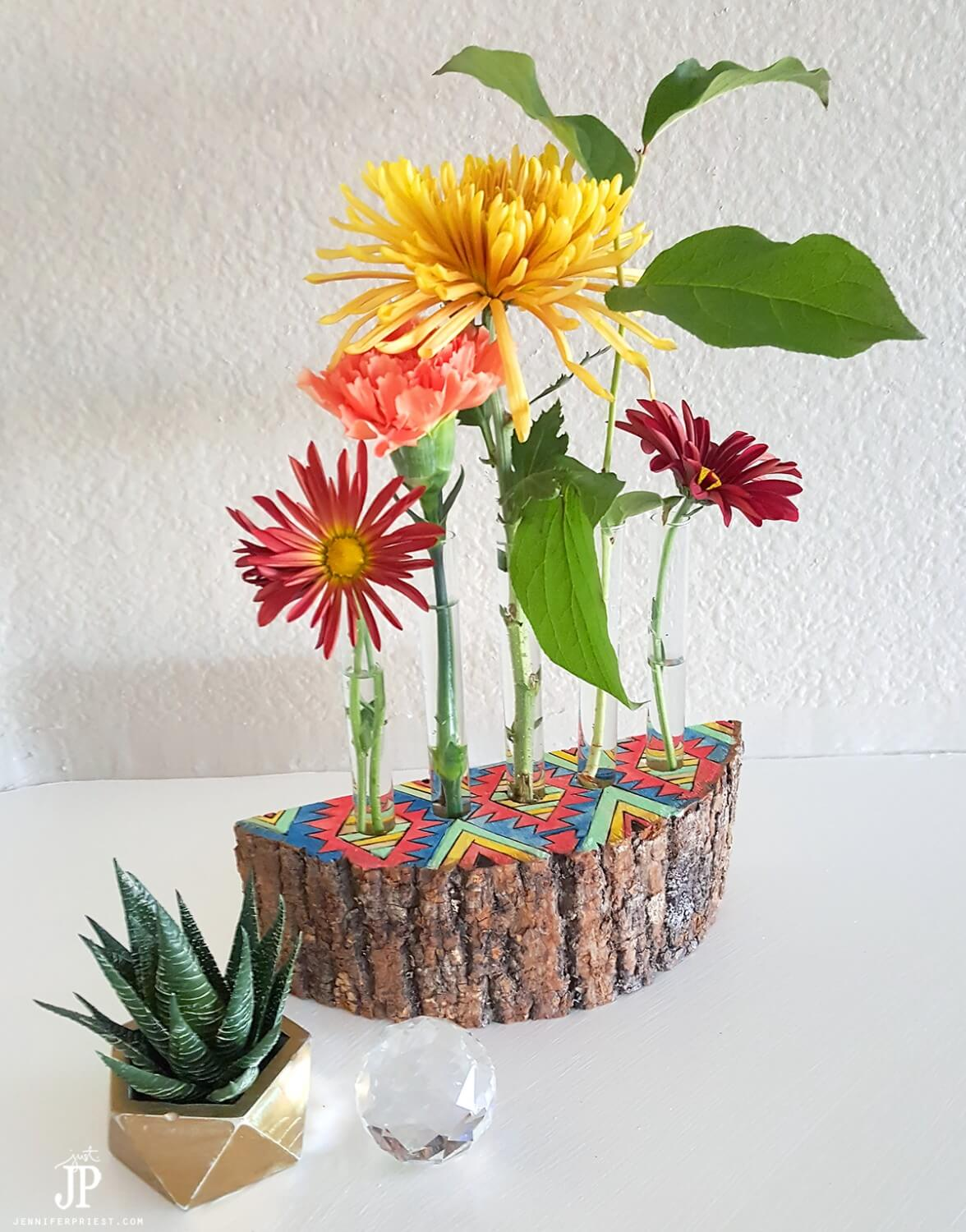 Unique and Joyful Painted Wood Flower Holder
