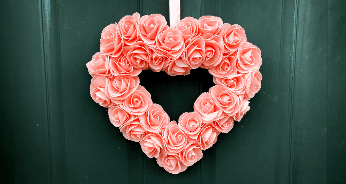 DIY Heart-Shaped Wreath with Foam Roses
