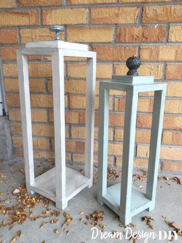 Outdoor Wood Lanterns with Finials