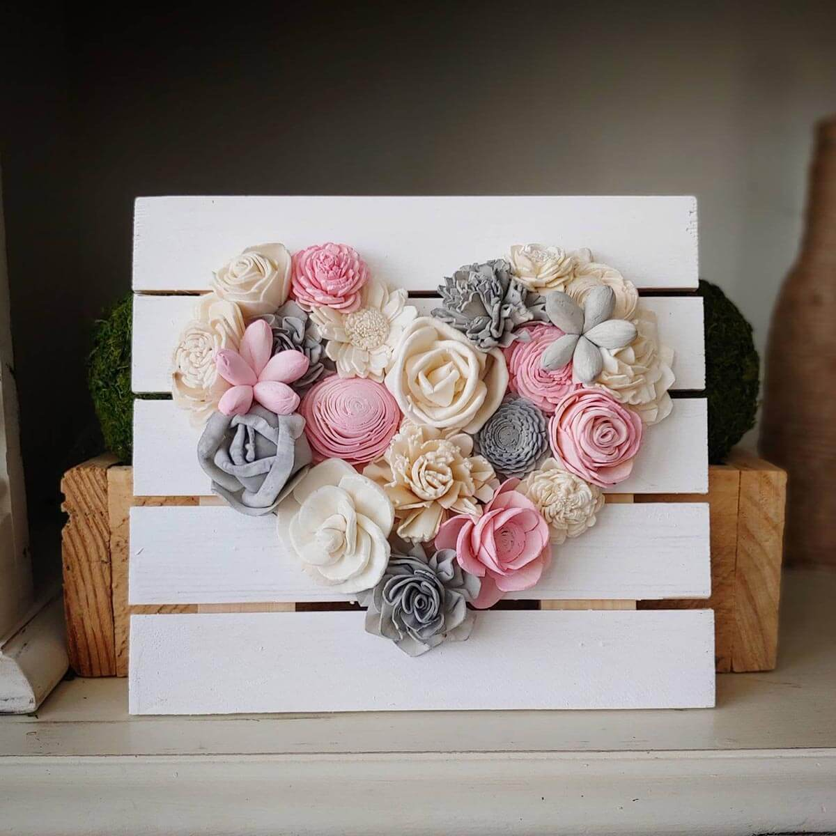 Heart of Wooden Flowers on Wooden Plaque