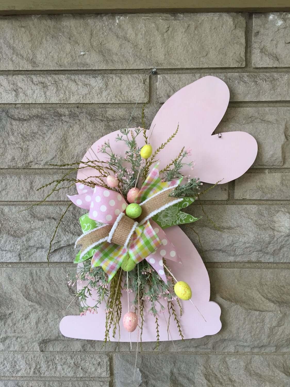 Pale Pink Wooden Rabbit Cutout