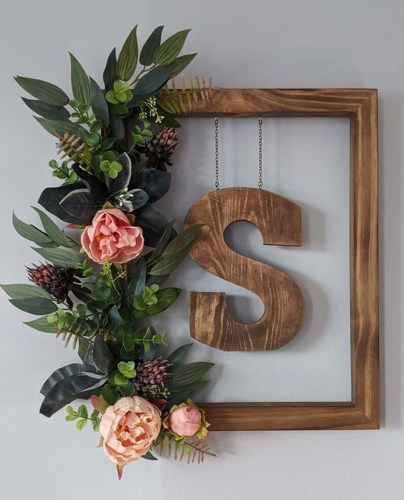 Framed Floral Wreath with Hanging Initial