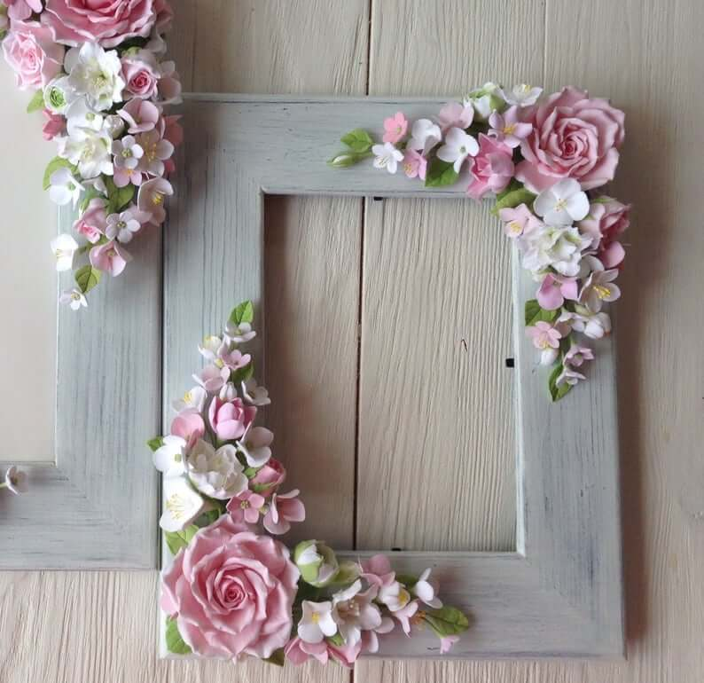 Wooden Frame with Polymer Clay Flower Embellishments