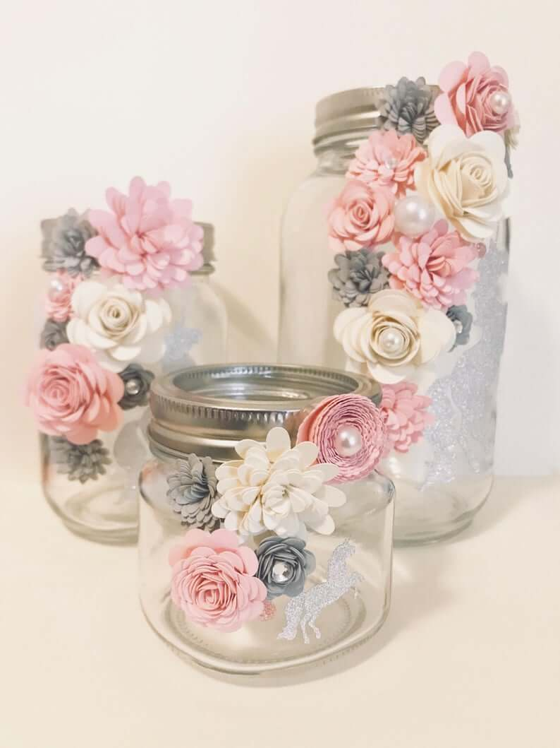 Sparkle Unicorn Jar with Trailing Paper Flowers