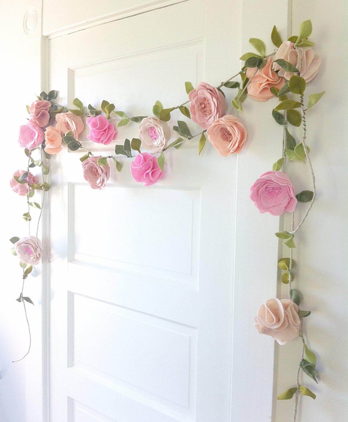 Whimsical Garland with Felt Flowers