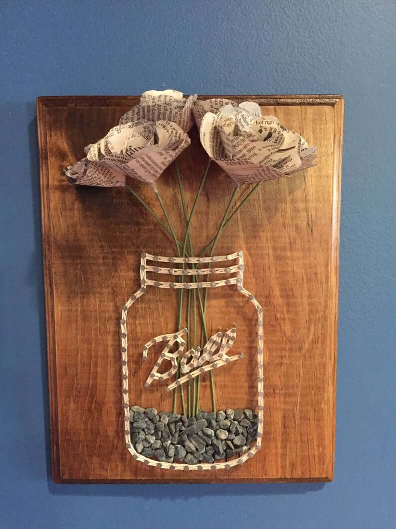 Ball Jar String Art with Newspaper Flowers