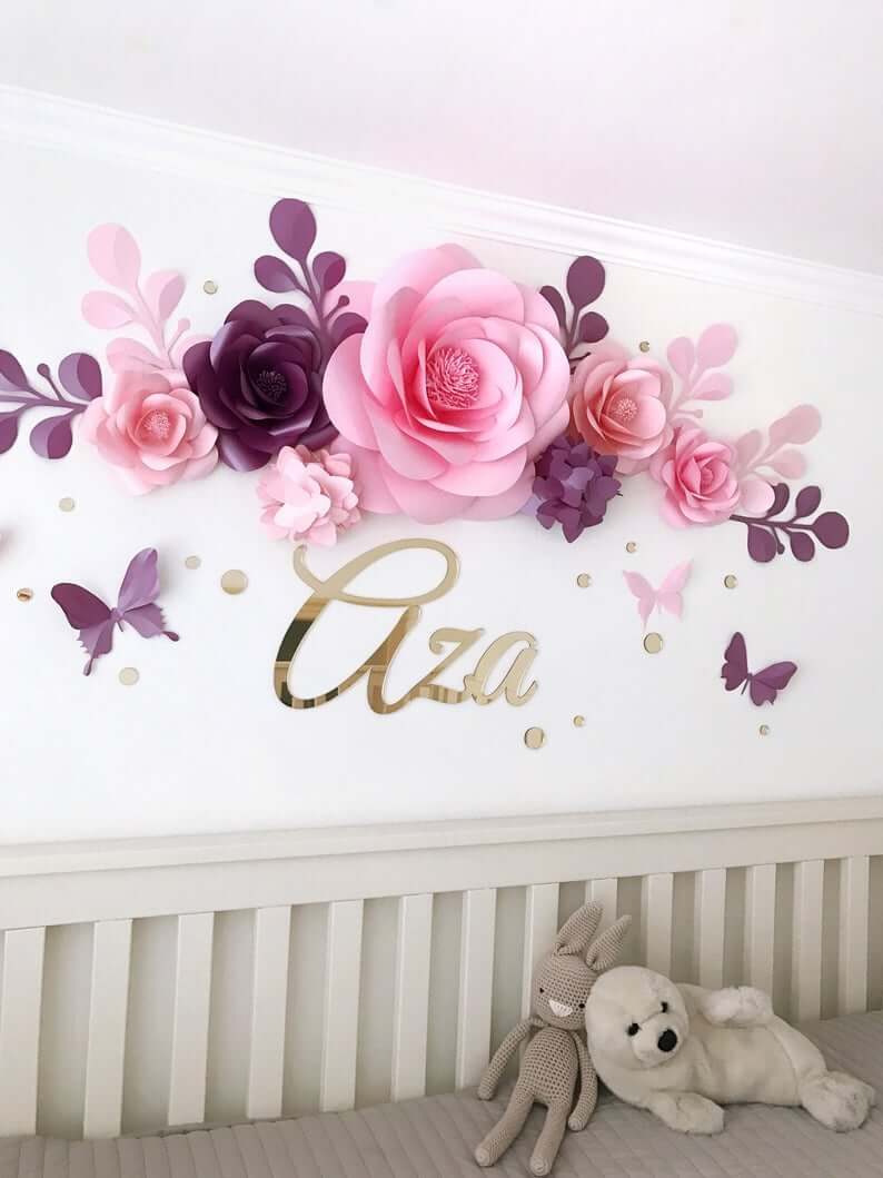Paper Flowers and Butterflies Wall Décor