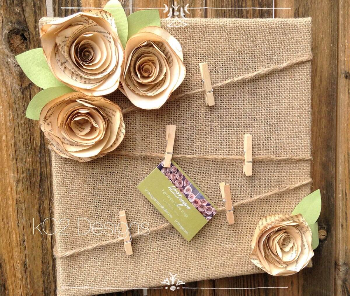 Burlap Message Board with Paper Flowers