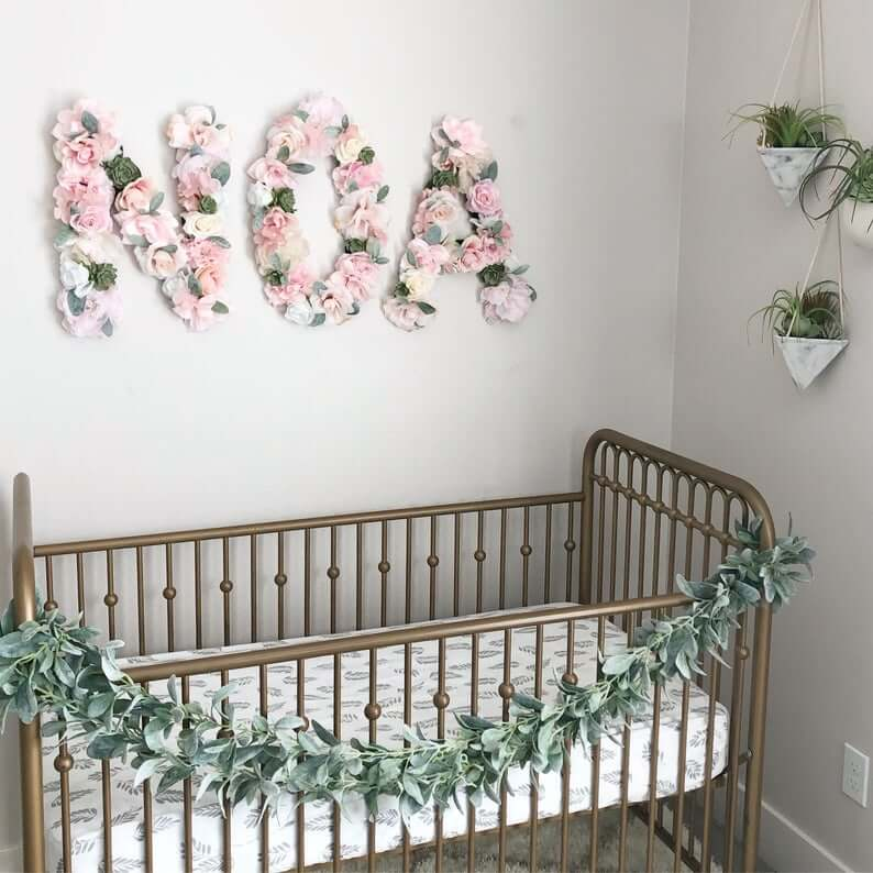 Eucalyptus and Pink Floral Name Wall Decor