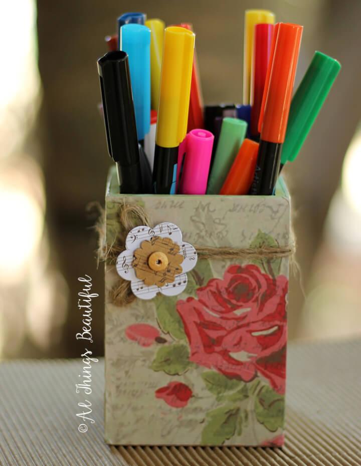 Beautiful Decorative Decoupage Pencil Holder