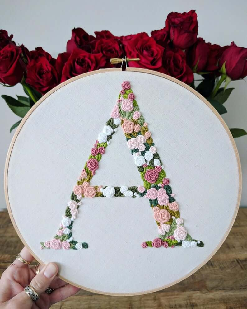 Embroidery Ring Floral Pink and Green Letter on White Linen