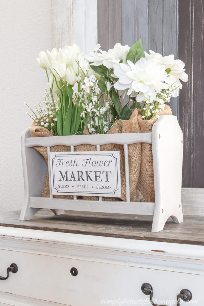 Cottage-Style Magazine Rack Floral Display
