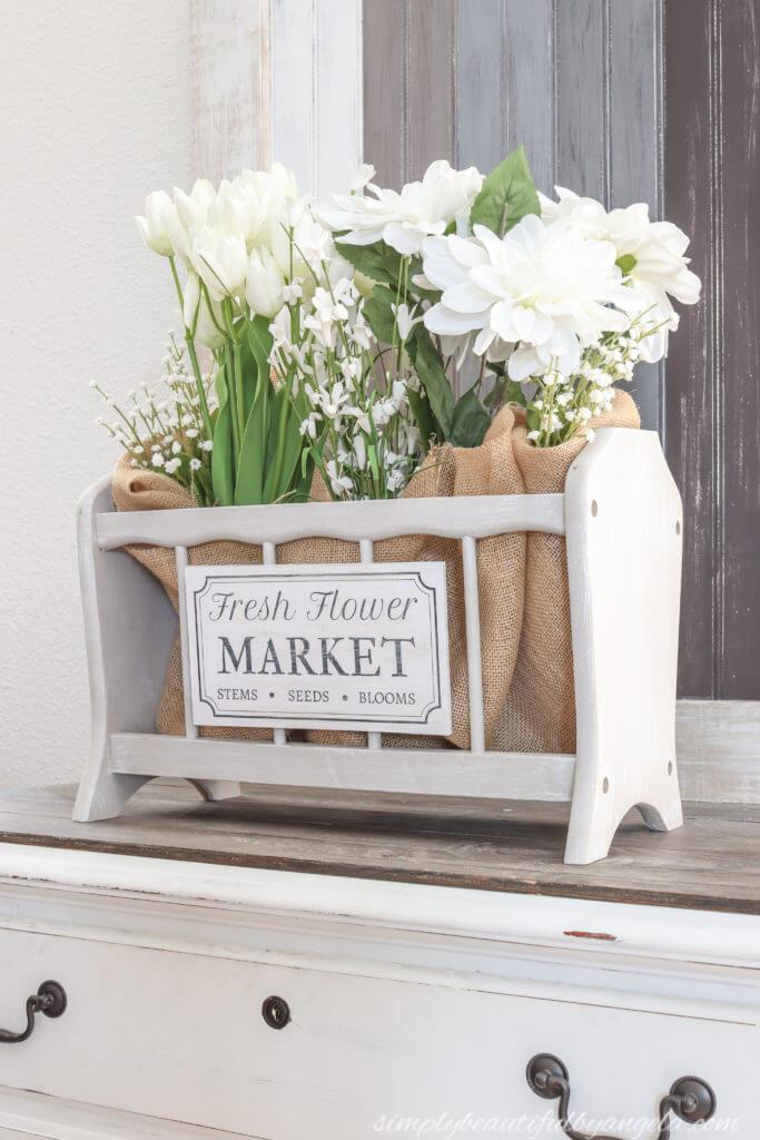 Cottage-Style Magazine Rack Floral Display