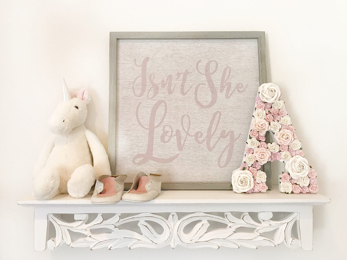 Lovely Pale and Muted Pink Nursery Flower Letter
