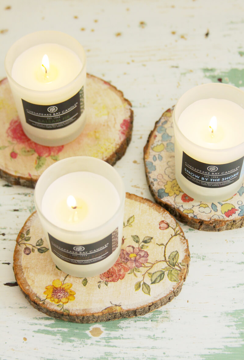 Floral Rustic Decoupage Candle Coasters