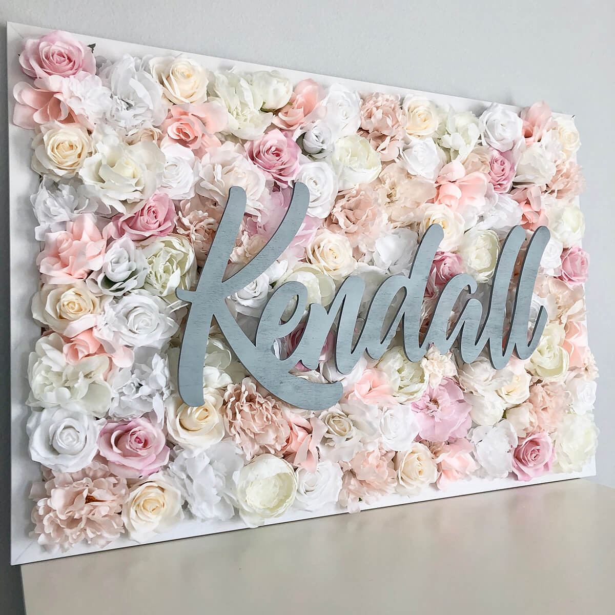 Pretty Pink Flowerbed Background Name Sign