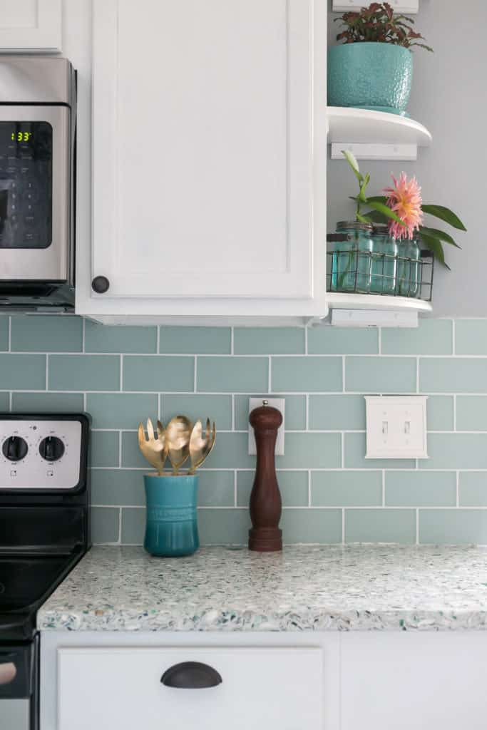 Sea Blue Glass Subway Tile Backsplash