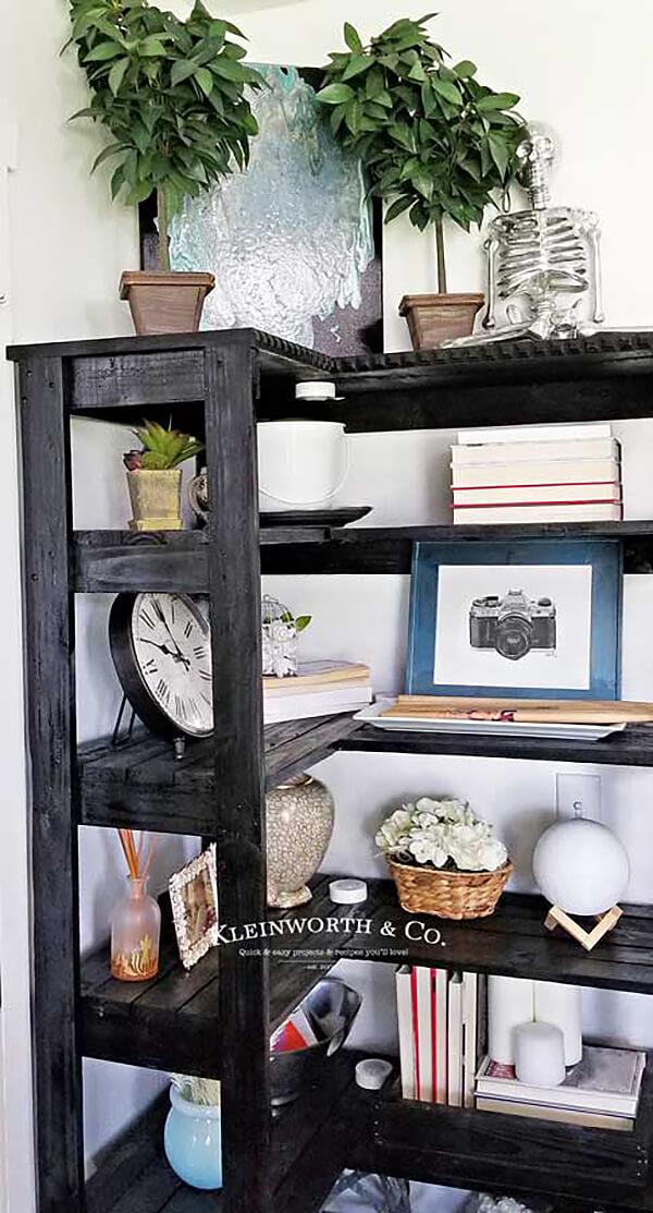 Stylish Pallet Corner Storage Bookshelf