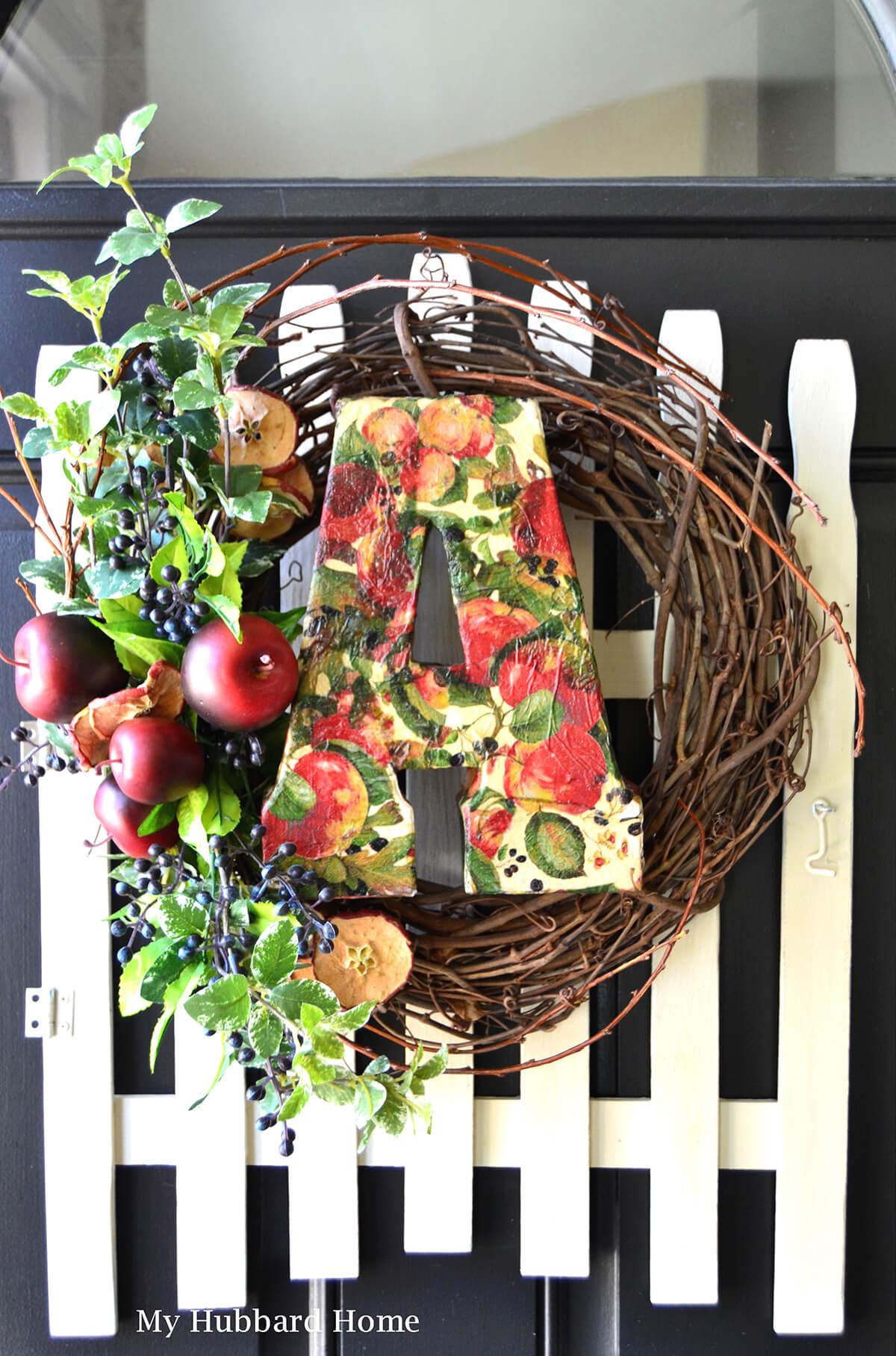 Autumn Decoupage Floral Wreath Décor