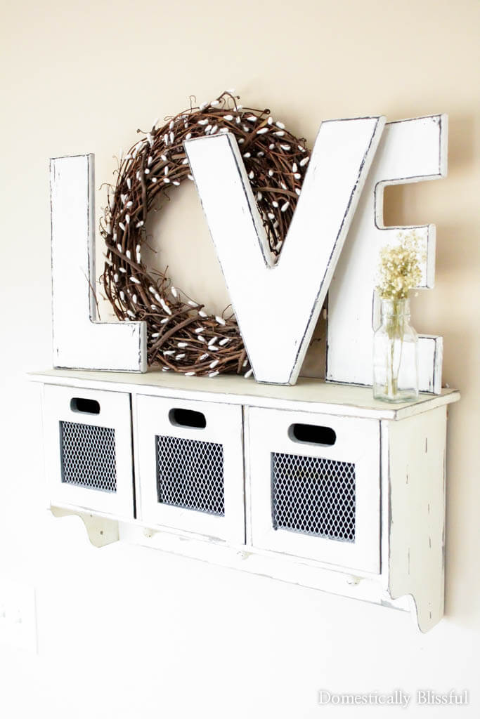 Love Sign with Rustic Wreath