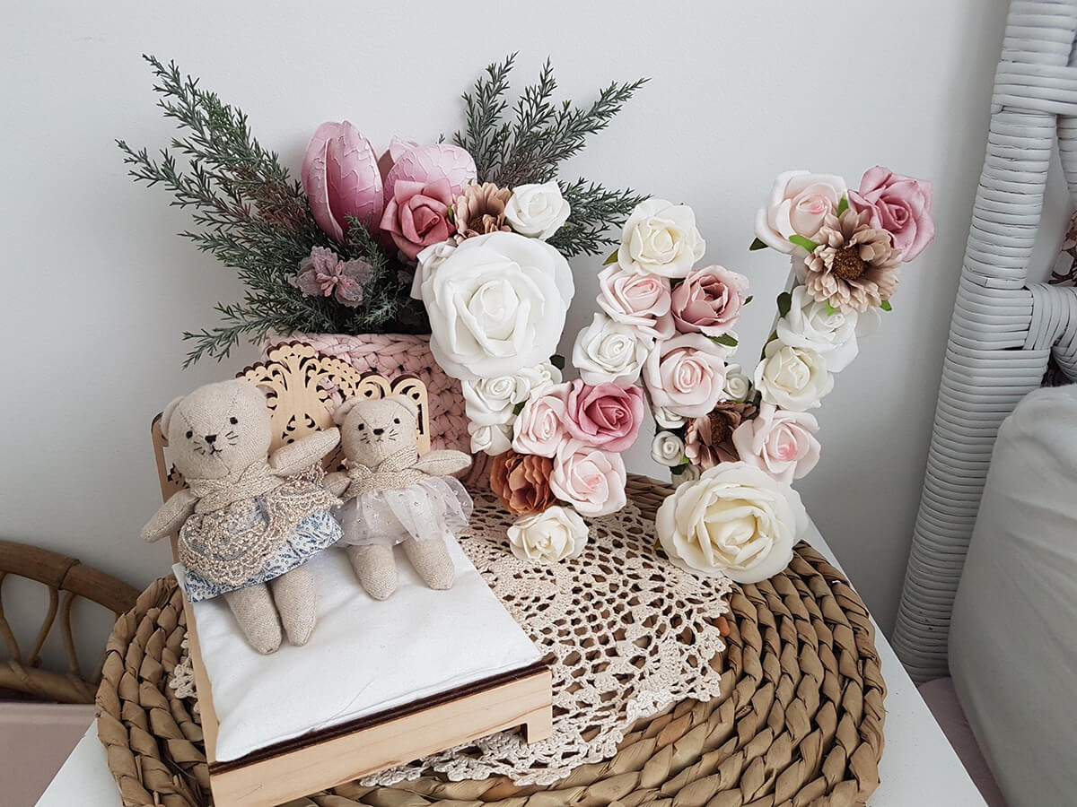 Homemade Wide Set Floral Letter Stand Alone Display