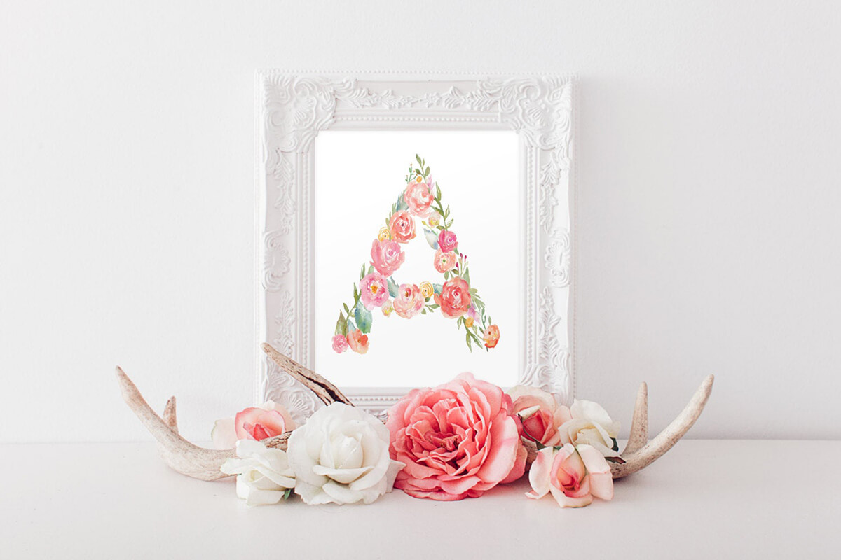 Framed Floral Letter Painted Wall Art