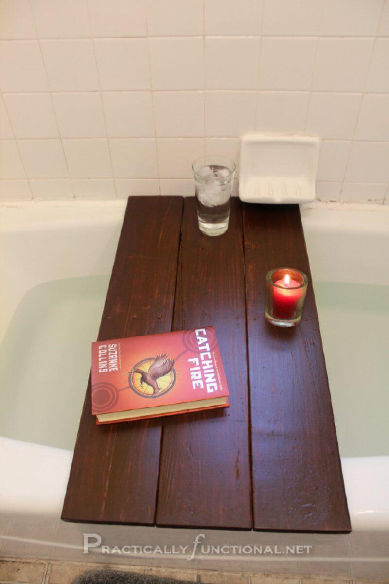 Simple Upcycled Pallet Bath Shelf