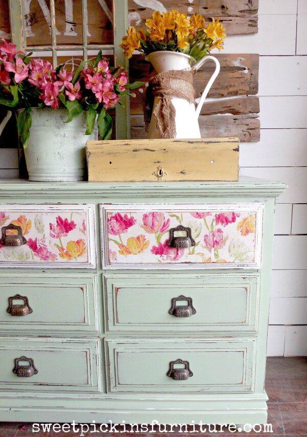 Cute Floral Napkins Decoupage Wood Furniture