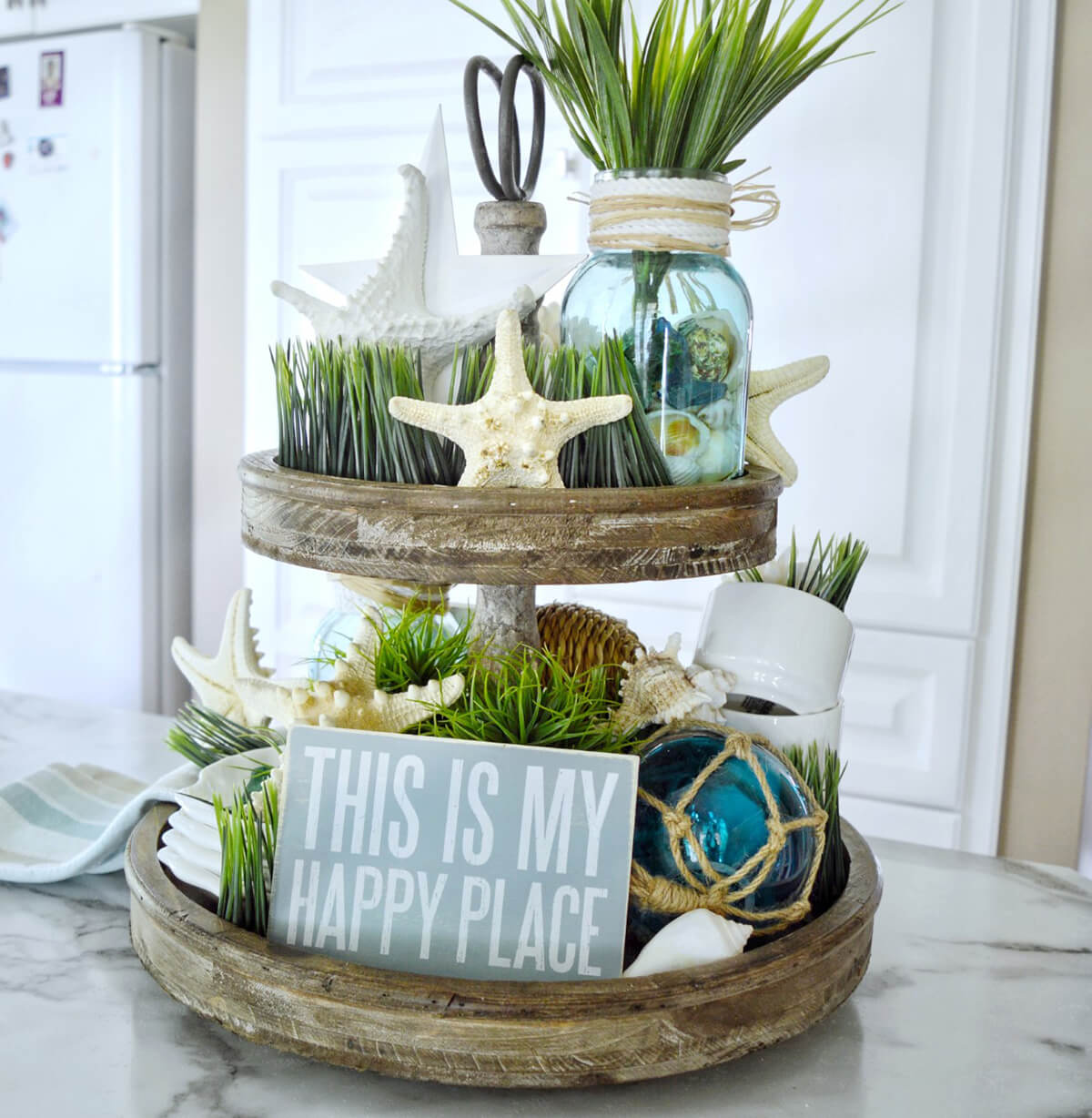 Tiered Tray for Pretty Storage and Home Organization with Happy Place Sign