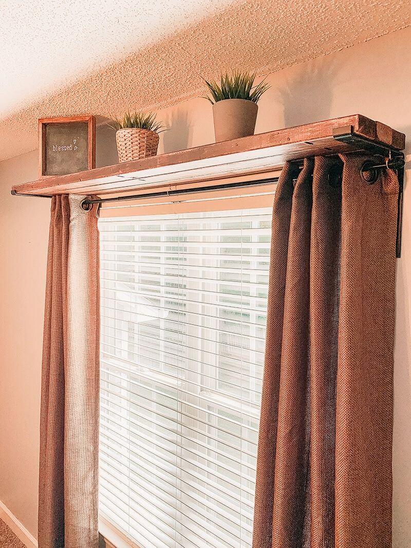 Pallet Window Curtain Rod and Shelf