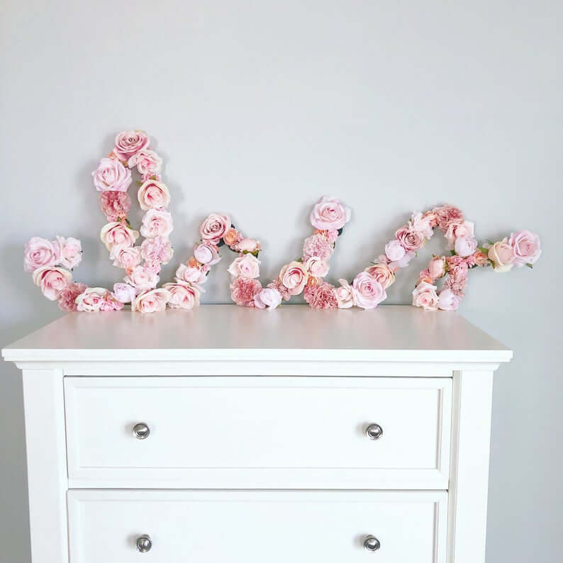 Script Pink Peonies and Roses Floral Letter Decoration
