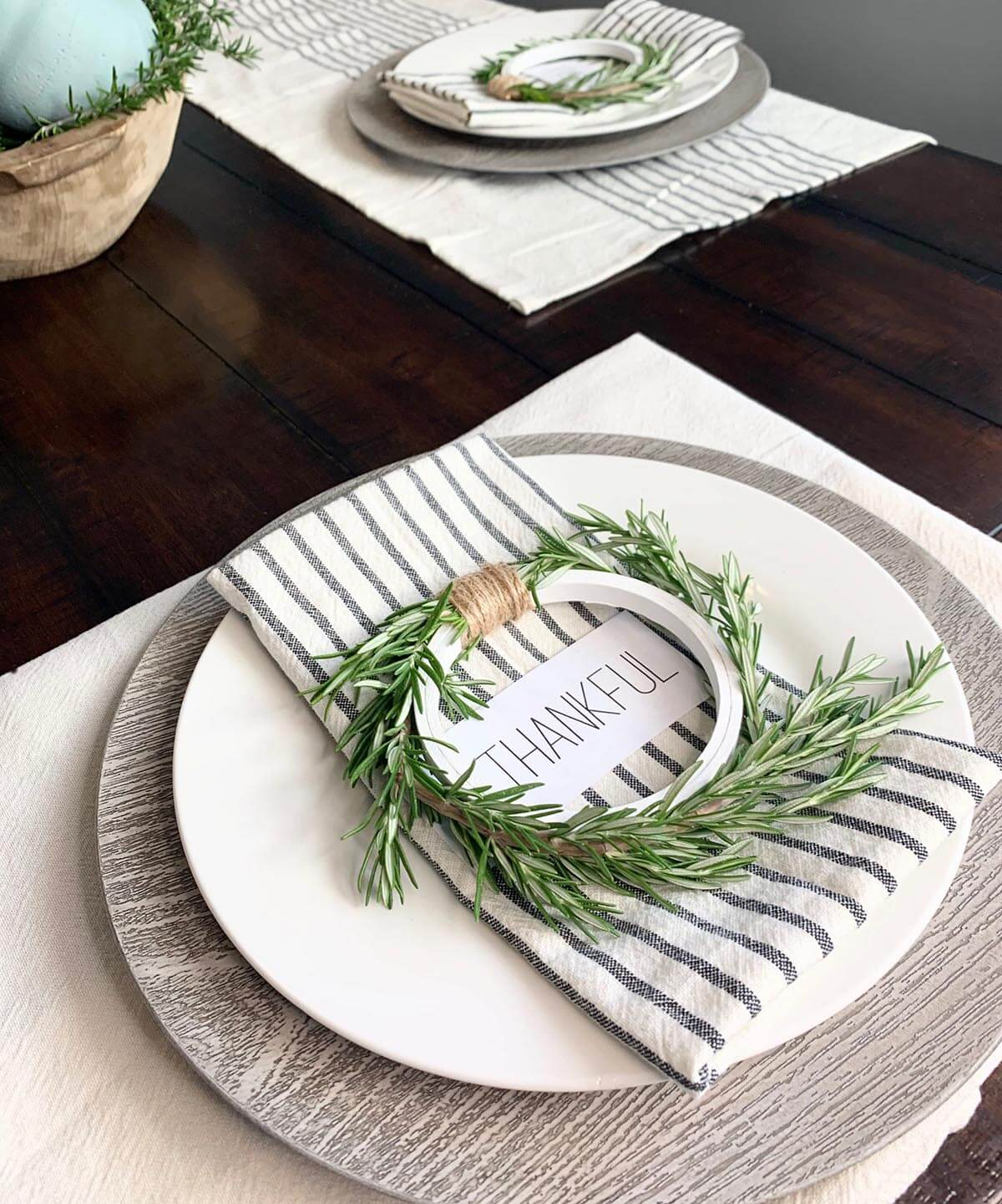 Embroidery Hoop Napkin Rings with Greenery