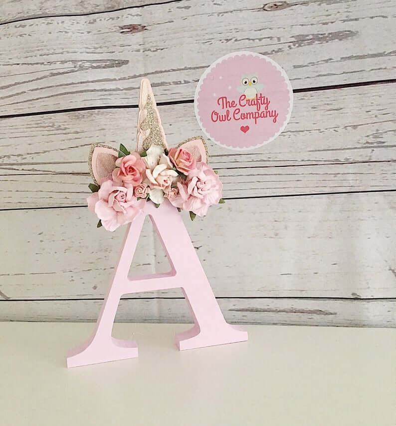 Pretty Unicorn Flower Letter Design Artwork