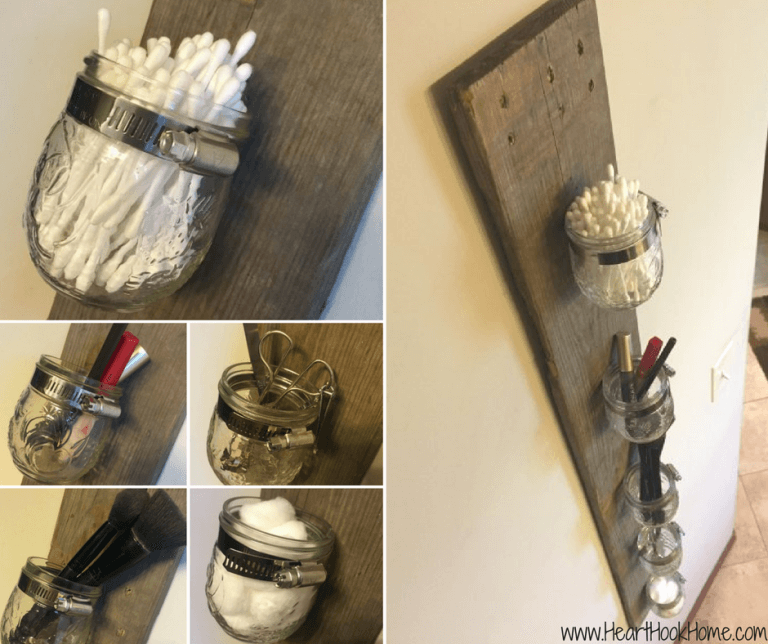 Mason Jar and Pallet Board Storage Rack