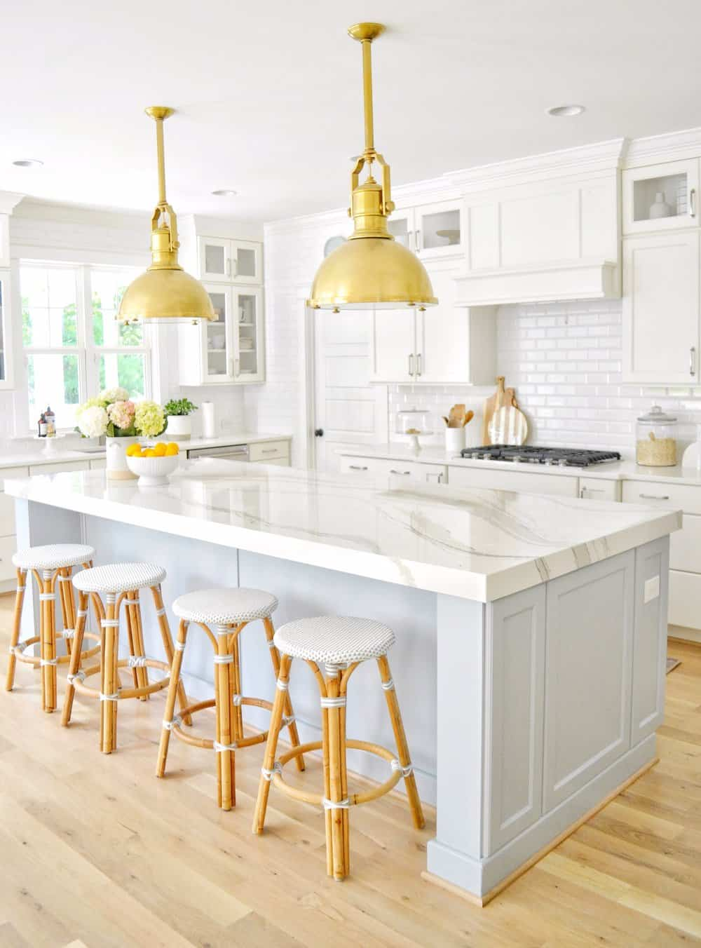 Light Blue and Gray Kitchen Island