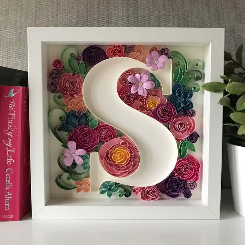 Shadow Box White Letter Surrounded with Metal Flower Twirls
