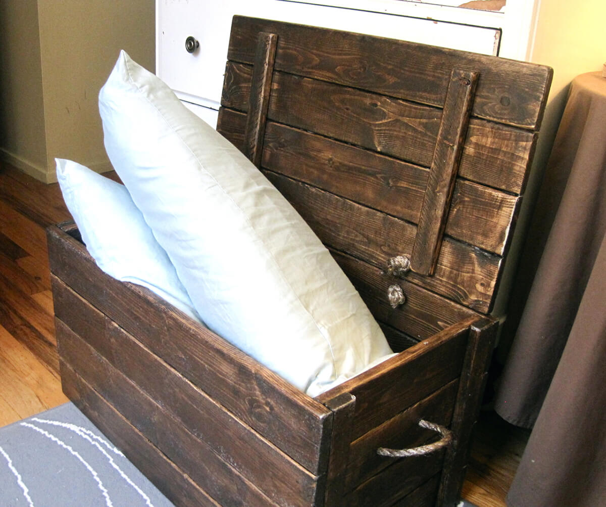 Large Wooden Storage Chest and Bench