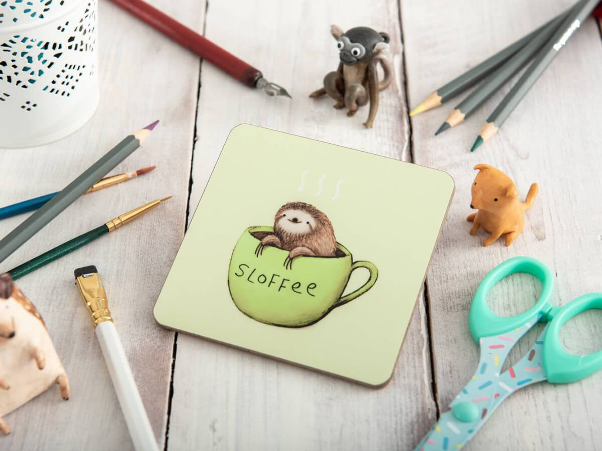 My Little Sloth Sloves Coaster Sitting