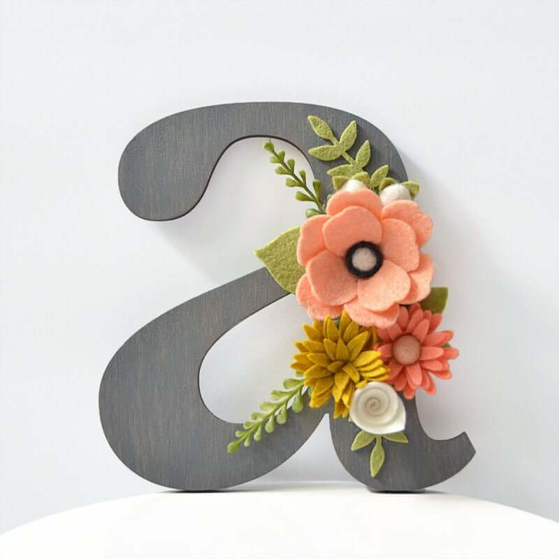 Wooden Letter with Felt Flower Accent