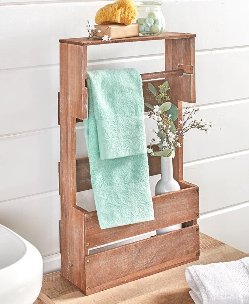 Wooden Bathroom Organizer Shelf and Rack