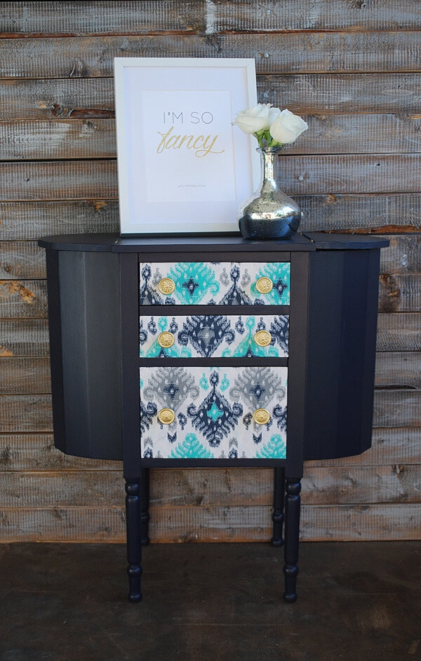 Upcycled Fabric Decoupage Dresser Drawers