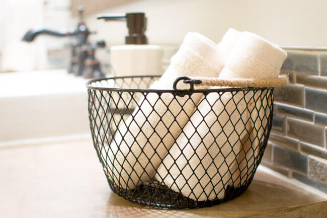 Wire Basket Towel Holder with Twine Handle