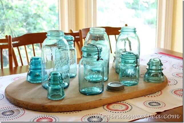 Various Sizes Sea Blue Glass Mason Jars