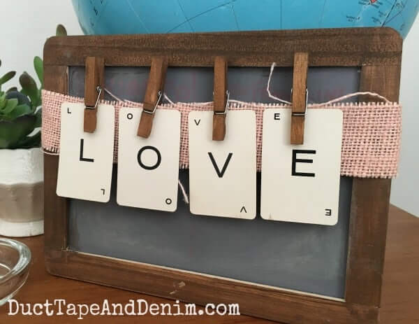 Vintage LOVE Chalkboard and Clothespin Sign