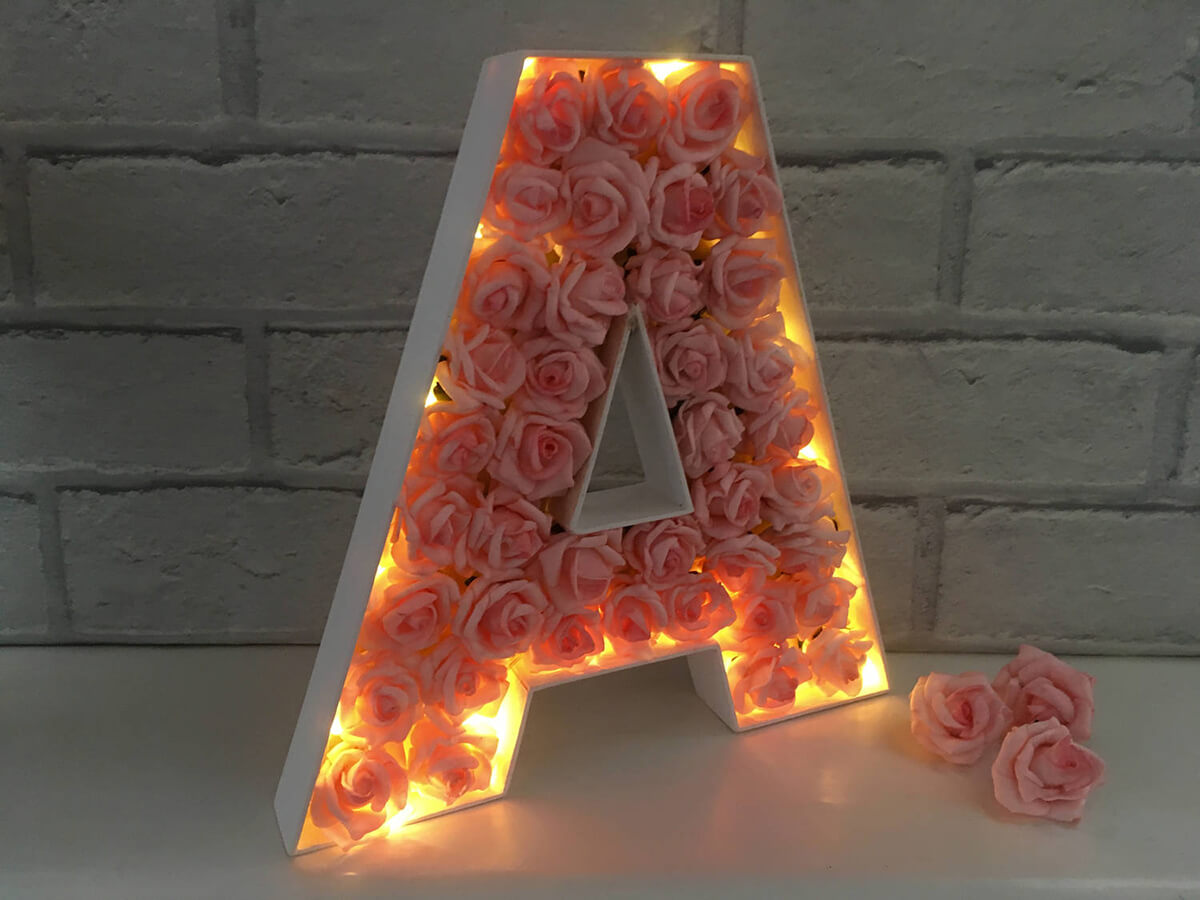 Light-Up Letter Infused with Pink Rose Buds
