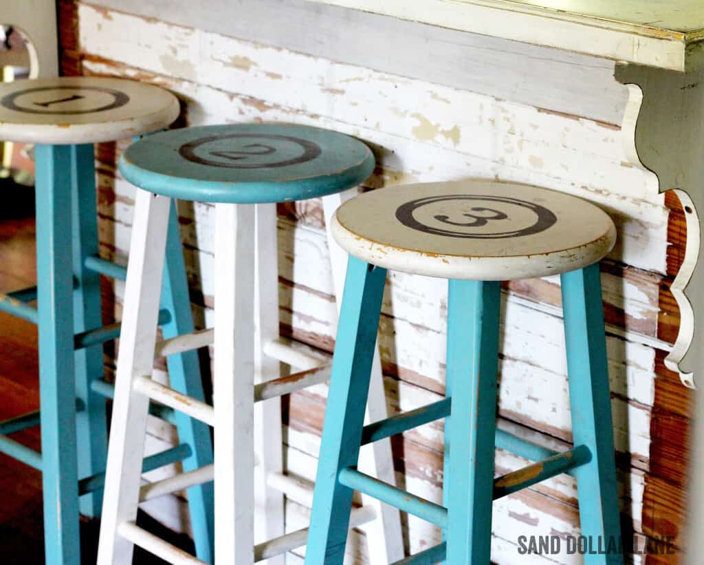 Turquoise and Rustic White Bar Stools